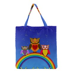 Owls Rainbow Animals Birds Nature Grocery Tote Bag