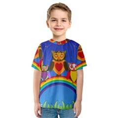 Owls Rainbow Animals Birds Nature Kids  Sport Mesh Tee