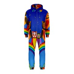 Owls Rainbow Animals Birds Nature Hooded Jumpsuit (Kids)