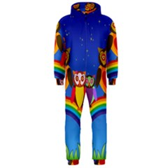 Owls Rainbow Animals Birds Nature Hooded Jumpsuit (men)