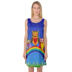 Owls Rainbow Animals Birds Nature Sleeveless Satin Nightdress