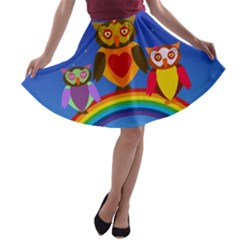 Owls Rainbow Animals Birds Nature A Line Skater Skirt