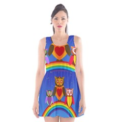 Owls Rainbow Animals Birds Nature Scoop Neck Skater Dress
