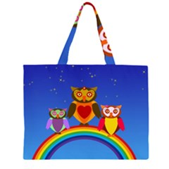 Owls Rainbow Animals Birds Nature Zipper Large Tote Bag