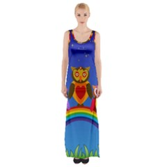 Owls Rainbow Animals Birds Nature Maxi Thigh Split Dress