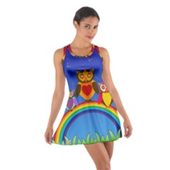 Owls Rainbow Animals Birds Nature Cotton Racerback Dress