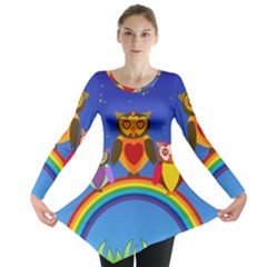 Owls Rainbow Animals Birds Nature Long Sleeve Tunic