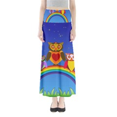Owls Rainbow Animals Birds Nature Maxi Skirts