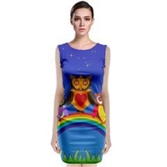 Owls Rainbow Animals Birds Nature Classic Sleeveless Midi Dress