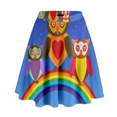 Owls Rainbow Animals Birds Nature High Waist Skirt