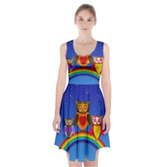 Owls Rainbow Animals Birds Nature Racerback Midi Dress