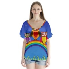 Owls Rainbow Animals Birds Nature Flutter Sleeve Top