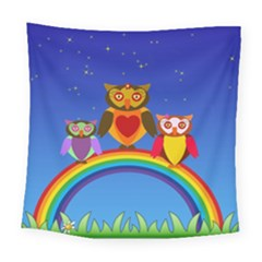 Owls Rainbow Animals Birds Nature Square Tapestry (large)