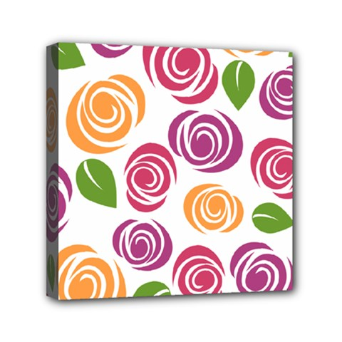Colorful Seamless Floral Flowers Pattern Wallpaper Background Mini Canvas 6  x 6