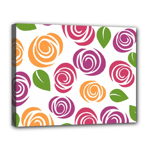 Colorful Seamless Floral Flowers Pattern Wallpaper Background Canvas 14  x 11