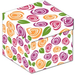 Colorful Seamless Floral Flowers Pattern Wallpaper Background Storage Stool 12