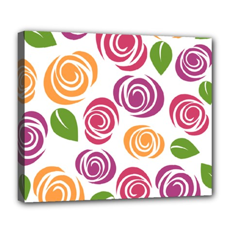 Colorful Seamless Floral Flowers Pattern Wallpaper Background Deluxe Canvas 24  X 20
