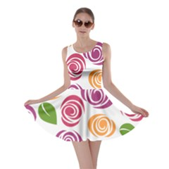Colorful Seamless Floral Flowers Pattern Wallpaper Background Skater Dress