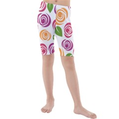 Colorful Seamless Floral Flowers Pattern Wallpaper Background Kids  Mid Length Swim Shorts
