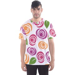 Colorful Seamless Floral Flowers Pattern Wallpaper Background Men s Sport Mesh Tee