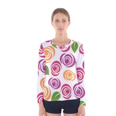 Colorful Seamless Floral Flowers Pattern Wallpaper Background Women s Long Sleeve Tee