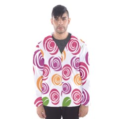 Colorful Seamless Floral Flowers Pattern Wallpaper Background Hooded Wind Breaker (men)