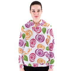 Colorful Seamless Floral Flowers Pattern Wallpaper Background Women s Zipper Hoodie