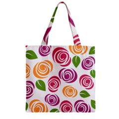 Colorful Seamless Floral Flowers Pattern Wallpaper Background Zipper Grocery Tote Bag