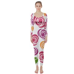 Colorful Seamless Floral Flowers Pattern Wallpaper Background Long Sleeve Catsuit