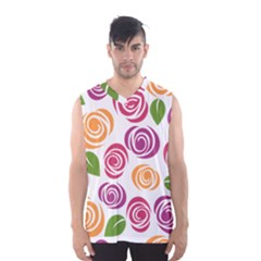 Colorful Seamless Floral Flowers Pattern Wallpaper Background Men s Basketball Tank Top