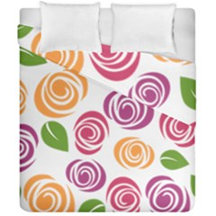 Colorful Seamless Floral Flowers Pattern Wallpaper Background Duvet Cover Double Side (california King Size)
