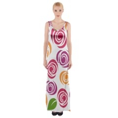 Colorful Seamless Floral Flowers Pattern Wallpaper Background Maxi Thigh Split Dress