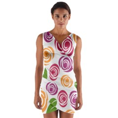 Colorful Seamless Floral Flowers Pattern Wallpaper Background Wrap Front Bodycon Dress