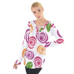 Colorful Seamless Floral Flowers Pattern Wallpaper Background Women s Tie Up Tee