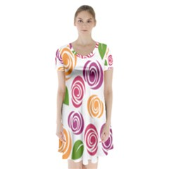 Colorful Seamless Floral Flowers Pattern Wallpaper Background Short Sleeve V Neck Flare Dress