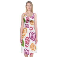 Colorful Seamless Floral Flowers Pattern Wallpaper Background Midi Sleeveless Dress