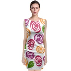 Colorful Seamless Floral Flowers Pattern Wallpaper Background Classic Sleeveless Midi Dress