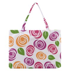 Colorful Seamless Floral Flowers Pattern Wallpaper Background Medium Zipper Tote Bag