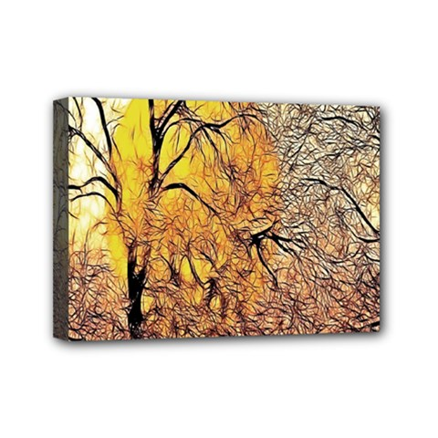 Summer Sun Set Fractal Forest Background Mini Canvas 7  X 5