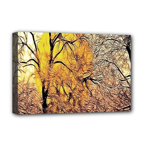 Summer Sun Set Fractal Forest Background Deluxe Canvas 18  X 12