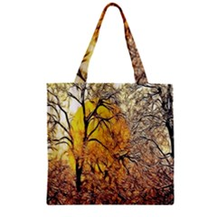 Summer Sun Set Fractal Forest Background Zipper Grocery Tote Bag