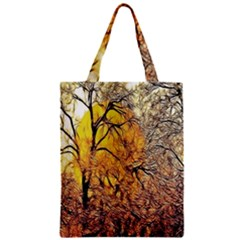 Summer Sun Set Fractal Forest Background Zipper Classic Tote Bag