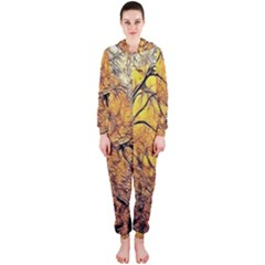 Summer Sun Set Fractal Forest Background Hooded Jumpsuit (ladies)
