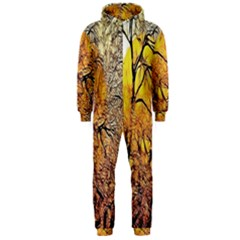 Summer Sun Set Fractal Forest Background Hooded Jumpsuit (men)