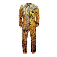Summer Sun Set Fractal Forest Background Onepiece Jumpsuit (kids)