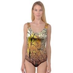 Summer Sun Set Fractal Forest Background Princess Tank Leotard