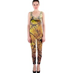 Summer Sun Set Fractal Forest Background Onepiece Catsuit