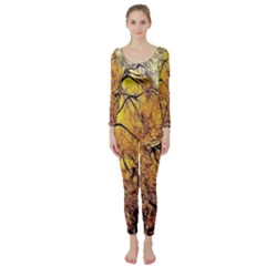 Summer Sun Set Fractal Forest Background Long Sleeve Catsuit