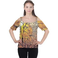 Summer Sun Set Fractal Forest Background Women s Cutout Shoulder Tee