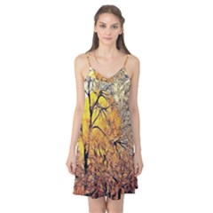 Summer Sun Set Fractal Forest Background Camis Nightgown